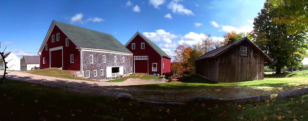 Panorama of Sabbathday Lake Shaker Village barns