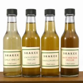 Shaker Infused Olive Oil, Herbal Vinegars, and Honey