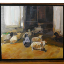 """Reimensnyder """"Sheep in the Doorway"""" Oil Painting"""