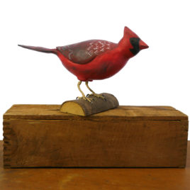 Hand Carved Cardinal Sculpture by Chuck Perry