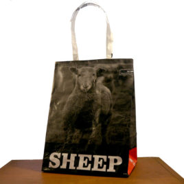 Sheep Tote Bag made from Shaker Village's feed bags