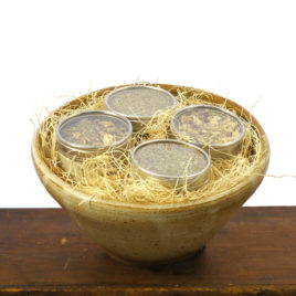 Shaker Herbal Gift Set in Handmade Pottery Bowl