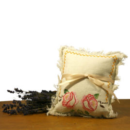 Lavender Filled Pillow with vintage linen