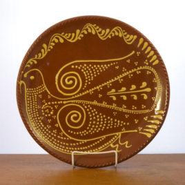 Redware Dove of Peace Plate