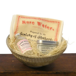 Shaker Rose Water Gift Set in Handmade Pottery Bowl