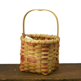 Handmade Handled Basket with Red Stripes by Carolyn Kemp for Shaker Village