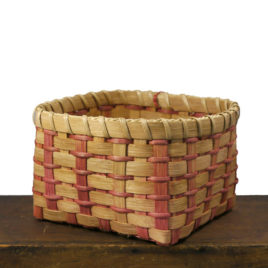 Handmade Square Basket with Red Stripes by Carolyn Kemp for Shaker Village