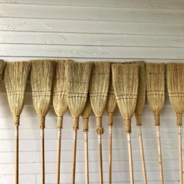 Handmade Shaker-stlye flat brooms by Everett Bailey